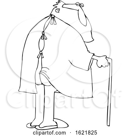 Cartoon Black and White Santa Claus with His Butt Showing Through a Hospital Gown by djart
