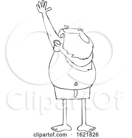 Cartoon Black and White Santa Claus Applying Deodorant by djart