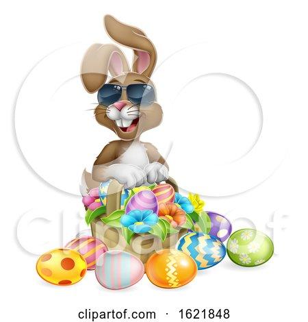 Easter Bunny Cool Rabbit Eggs Hunt Basket Cartoon by AtStockIllustration