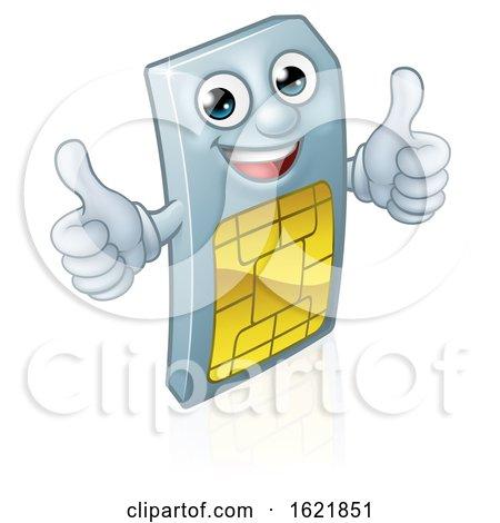 Mobile Phone Sim Card Mascot Cartoon by AtStockIllustration