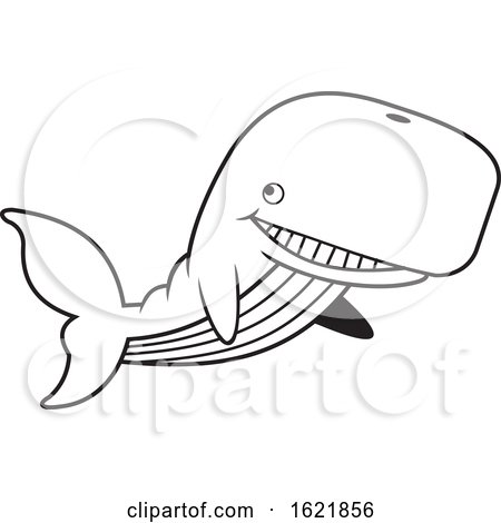 Cartoon Black and White Happy Swimming Whale by Johnny Sajem