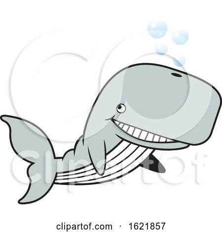 Cartoon Happy Whale with Bubbles by Johnny Sajem
