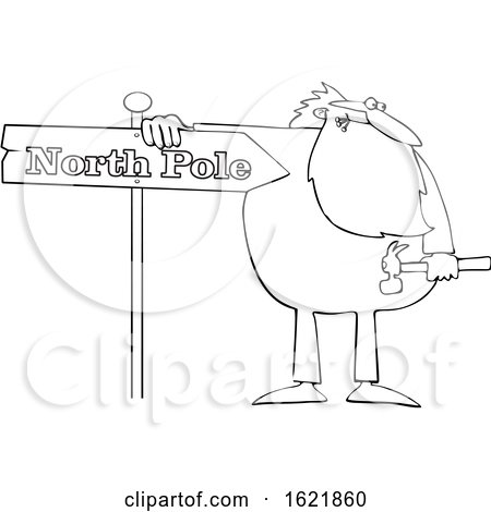Cartoon Black and White Christmas Santa Claus in Pajamas Fixing a North Pole Sign by djart