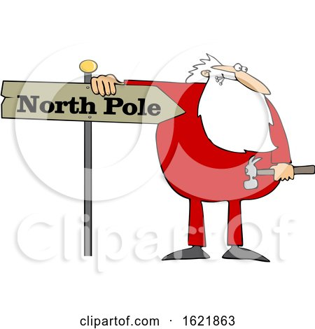 Cartoon Christmas Santa Claus in Pajamas Fixing a North Pole Sign by djart
