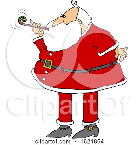 Cartoon Christmas Santa Claus Blowing a New Years Noise Maker by djart