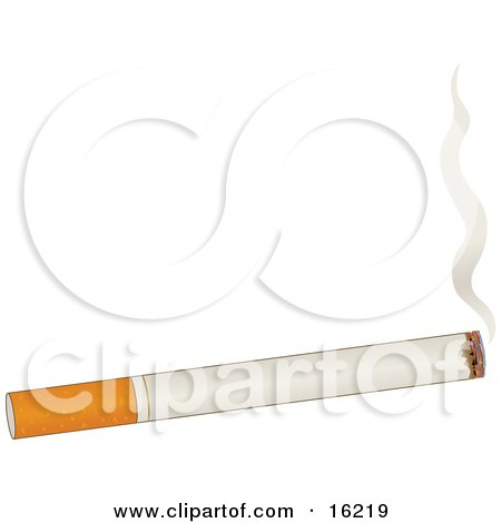 Burning Cigarette With Rising Smoke Over A White Background Clipart Illustration Image by Maria Bell