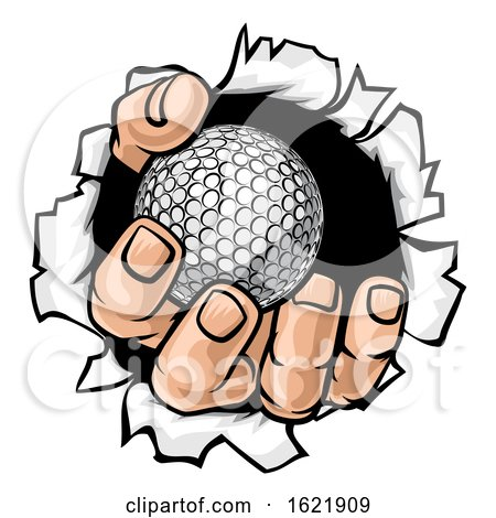 Golf Ball Hand Tearing Background by AtStockIllustration