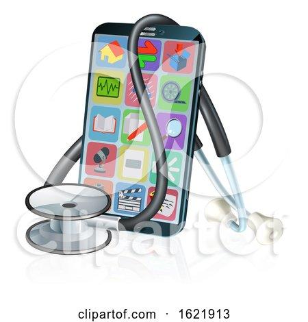 Mobile Phone Medical Health App Stethoscope Design by AtStockIllustration