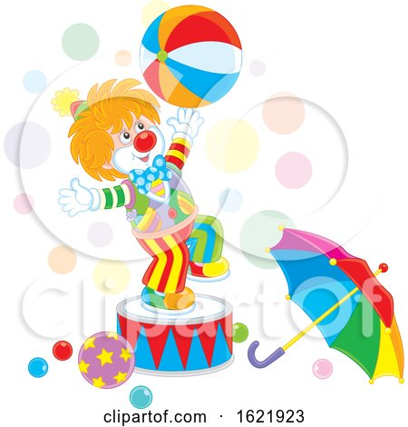 Clown Performing with a Ball by Alex Bannykh