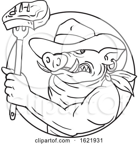 Cowboy Hog Holding Barbecue Steak Drawing Black and White by patrimonio