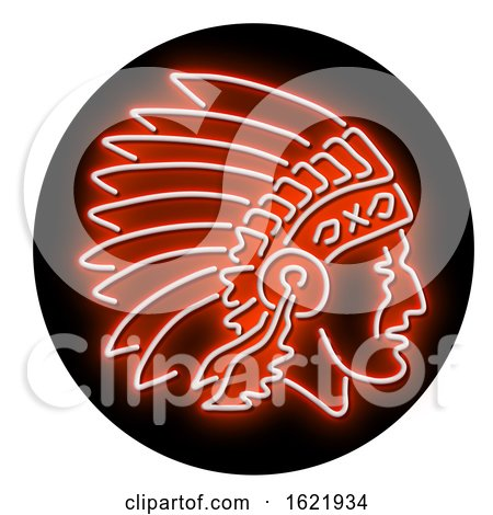 Native American Indian Chief Glowing Neon Sign Circle by patrimonio