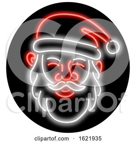 Santa Claus Neon Glowing Sign Circle by patrimonio