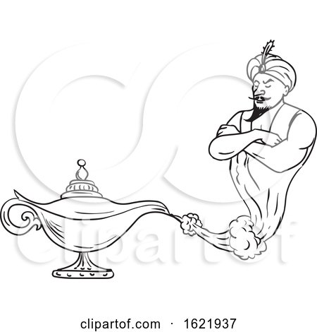 Genie Coming out of Oil Lamp Black and White Drawing by patrimonio