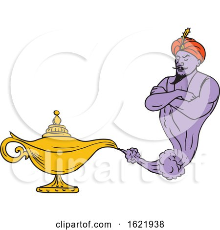 Genie Coming out of Golden Oil Lamp Drawing Color by patrimonio