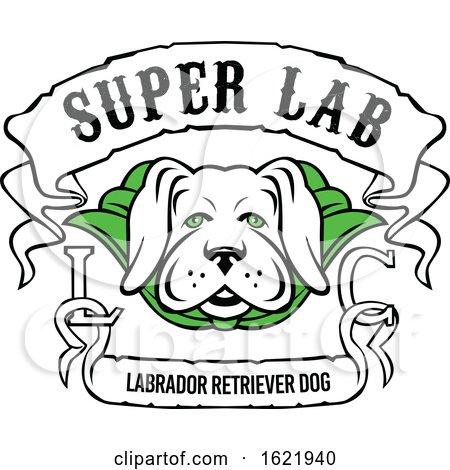 Super Labrador Retriever Dog Wearing Green Cape by patrimonio