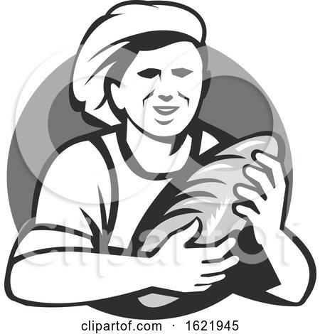 Grayscale Retro Female Baker Holding Bread in a Shield by patrimonio