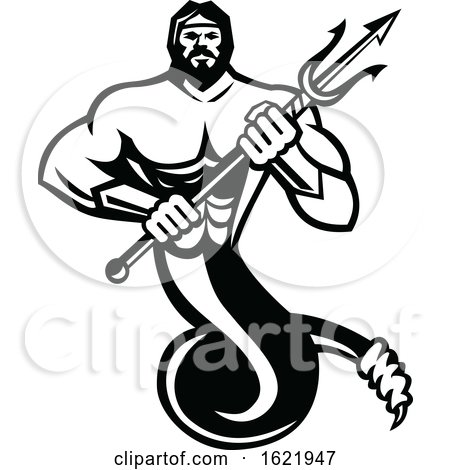 Typhon the Serpentine Giant Holding a Trident in Black and White by patrimonio