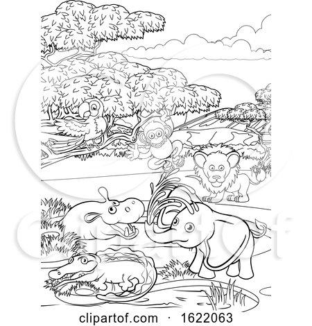 Safari Cartoon Animal Background Landscape Scene by AtStockIllustration