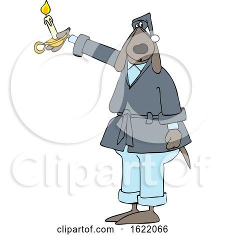 Cartoon Dog in a Robe, Holding a Candle by djart