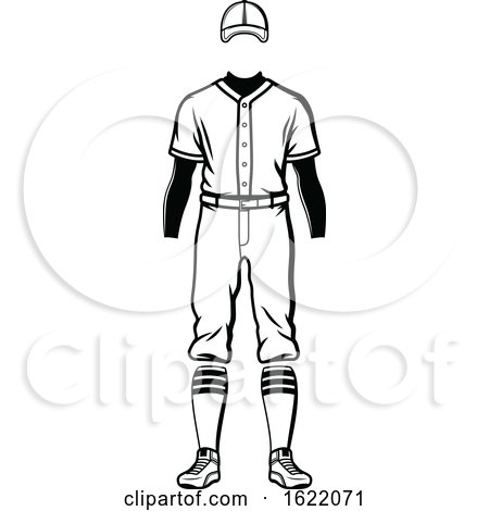 Black and White Baseball Uniform by Vector Tradition SM