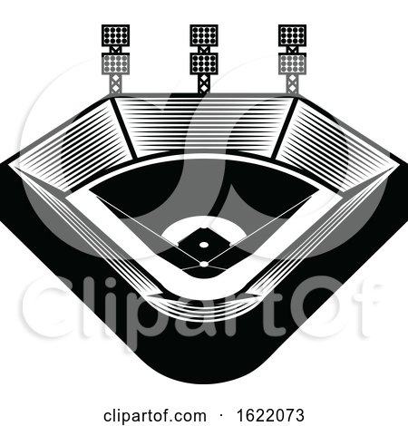 Black and White Baseball Stadium by Vector Tradition SM