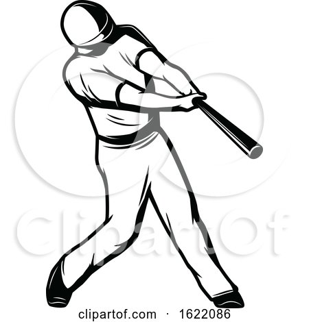 Black and White Baseball Player by Vector Tradition SM