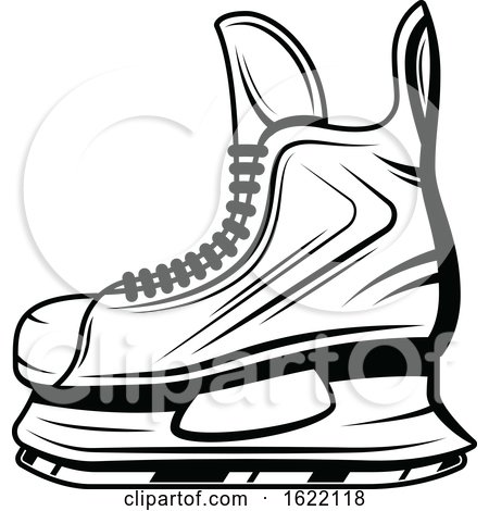 Black and White Hockey Ice Skate by Vector Tradition SM