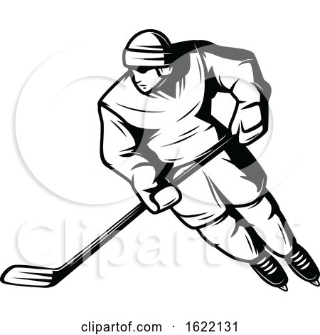 Black and White Hockey Player by Vector Tradition SM