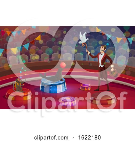 Performing Circus Ringmaster with Animals by Vector Tradition SM