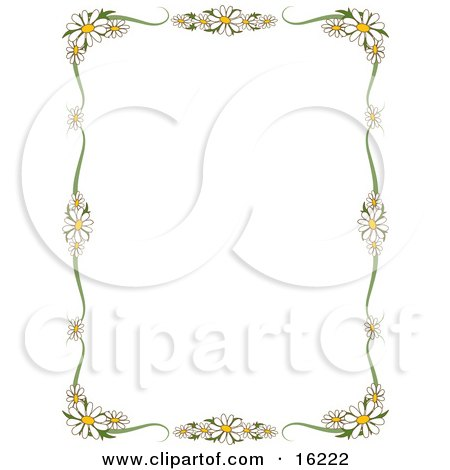 Stationery Border Of White Daisy Flowers With Yellow Centers Framing A White Background Clipart Illustration Image by Maria Bell