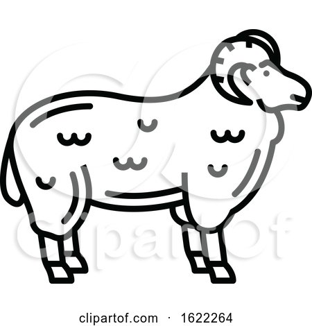Black and White Sheep Mutton Icon by Vector Tradition SM