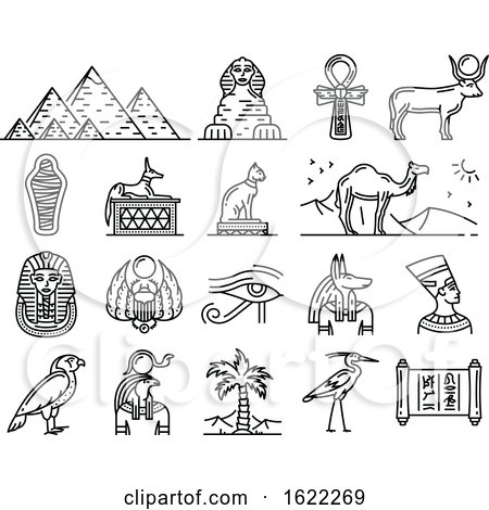 Black and White Ancient Egyptian Icons by Vector Tradition SM