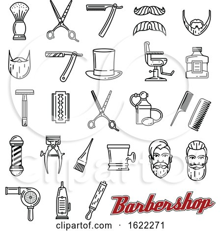 Black and White Barber Shop Icons by Vector Tradition SM