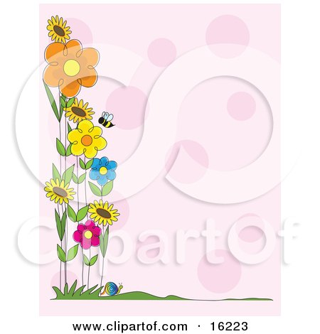 Honey Bee Flying Near A Patch Of Colorful Spring Flowers Along The Border Of A Pink Background Clipart Illustration Image by Maria Bell