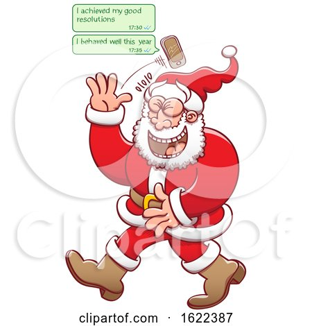 Cartoon Santa Claus Receiving Text Messages of People Lying About Behaving by Zooco