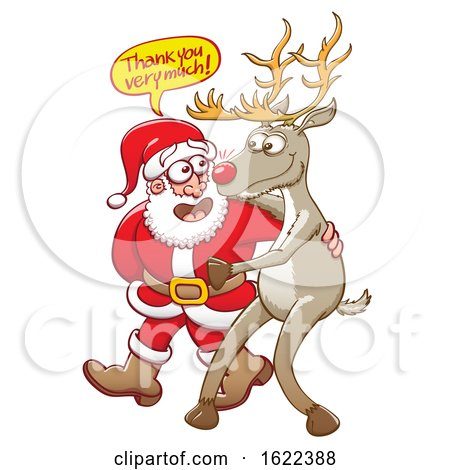 Cartoon Santa Claus Thanking Rudolph the Red Nosed Reindeer by Zooco