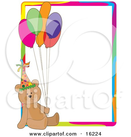 Cute Teddy Bear Wearing A Party Hat And Holding Onto A Bunch Of Colorful Balloons On A Birthday Party Stationery Sheet Clipart Illustration Image by Maria Bell
