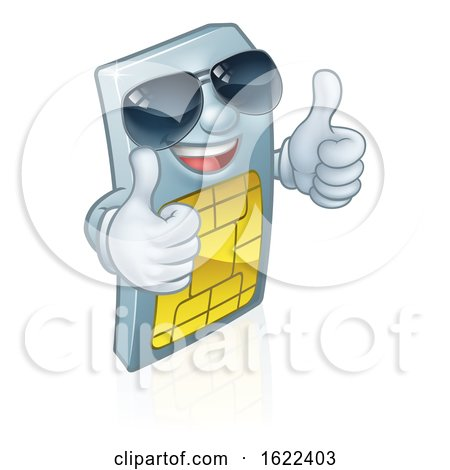 Sim Card Cool Shades Thumbs up Cartoon Mascot by AtStockIllustration