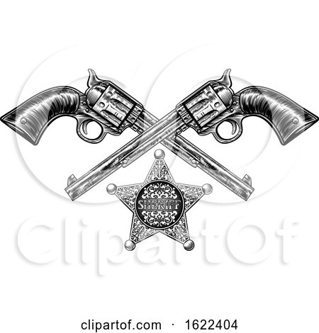 Sheriff Star Badge and Pistols by AtStockIllustration