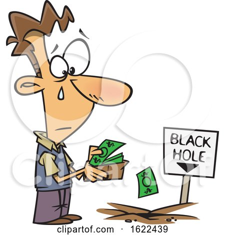 Clipart of a Cartoon Sad Man Pouring His Money in to a Black Hole - Royalty Free Vector Illustration by toonaday