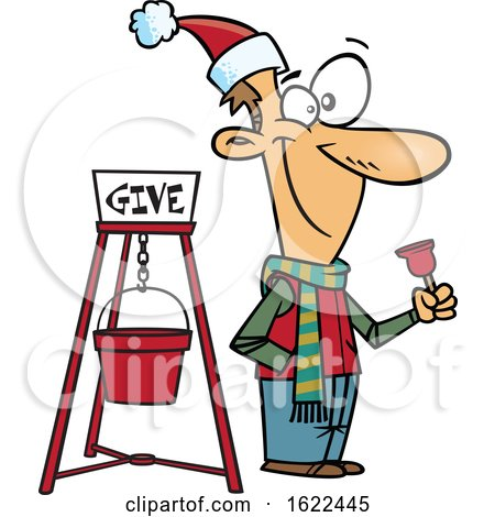 Clipart of a Cartoon Man Ringing a Charity Bell - Royalty Free Vector Illustration by toonaday