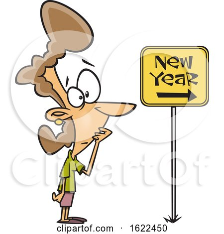 Clipart of a Cartoon Nervous Woman Looking at a New Year Ahead Sign - Royalty Free Vector Illustration by toonaday