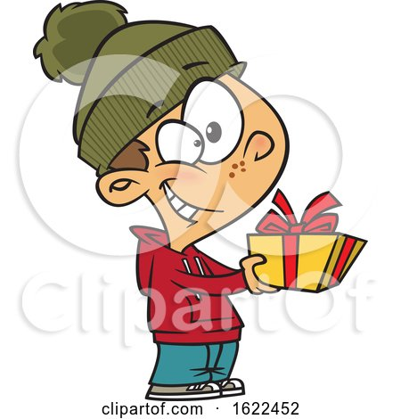Clipart of a Cartoon Boy Giving a Christmas Gift - Royalty Free Vector Illustration by toonaday
