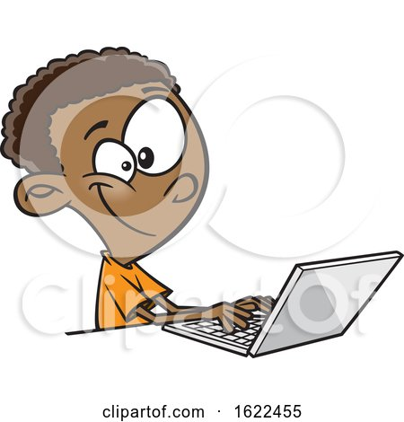 Clipart of a Cartoon Black Boy Using a Laptop - Royalty Free Vector Illustration by toonaday