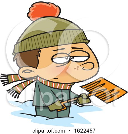 Clipart of a Cartoon Grumpy Boy Shoveling Snow - Royalty Free Vector Illustration by toonaday