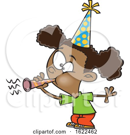Clipart of a Cartoon Black Girl Blowing a Party Horn - Royalty Free Vector Illustration by toonaday