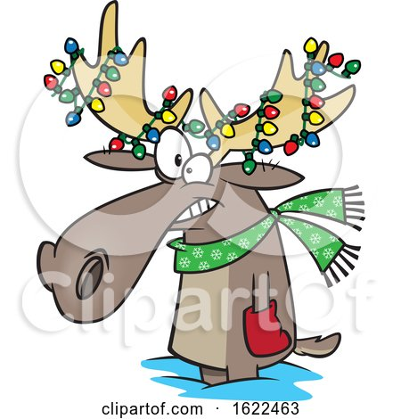 Clipart of a Cartoon Christmas Moose with Lights - Royalty Free Vector Illustration by toonaday