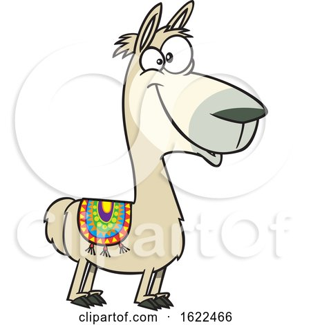 Clipart of a Cartoon Happy Llama - Royalty Free Vector Illustration by toonaday