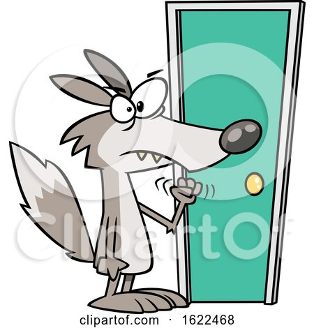 Clipart of a Cartoon Wolf Knocking on a Door - Royalty Free Vector Illustration by toonaday