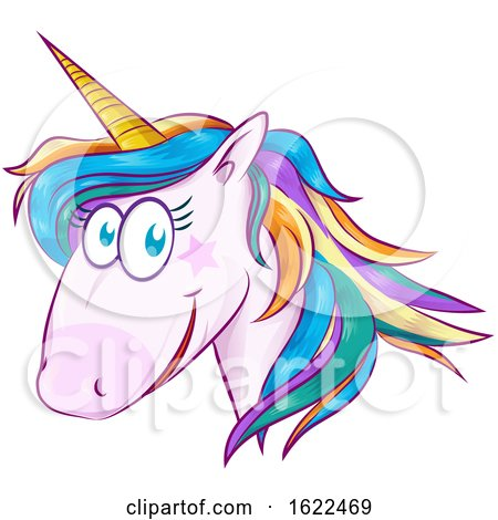 Rainbow Unicorn Face by Domenico Condello